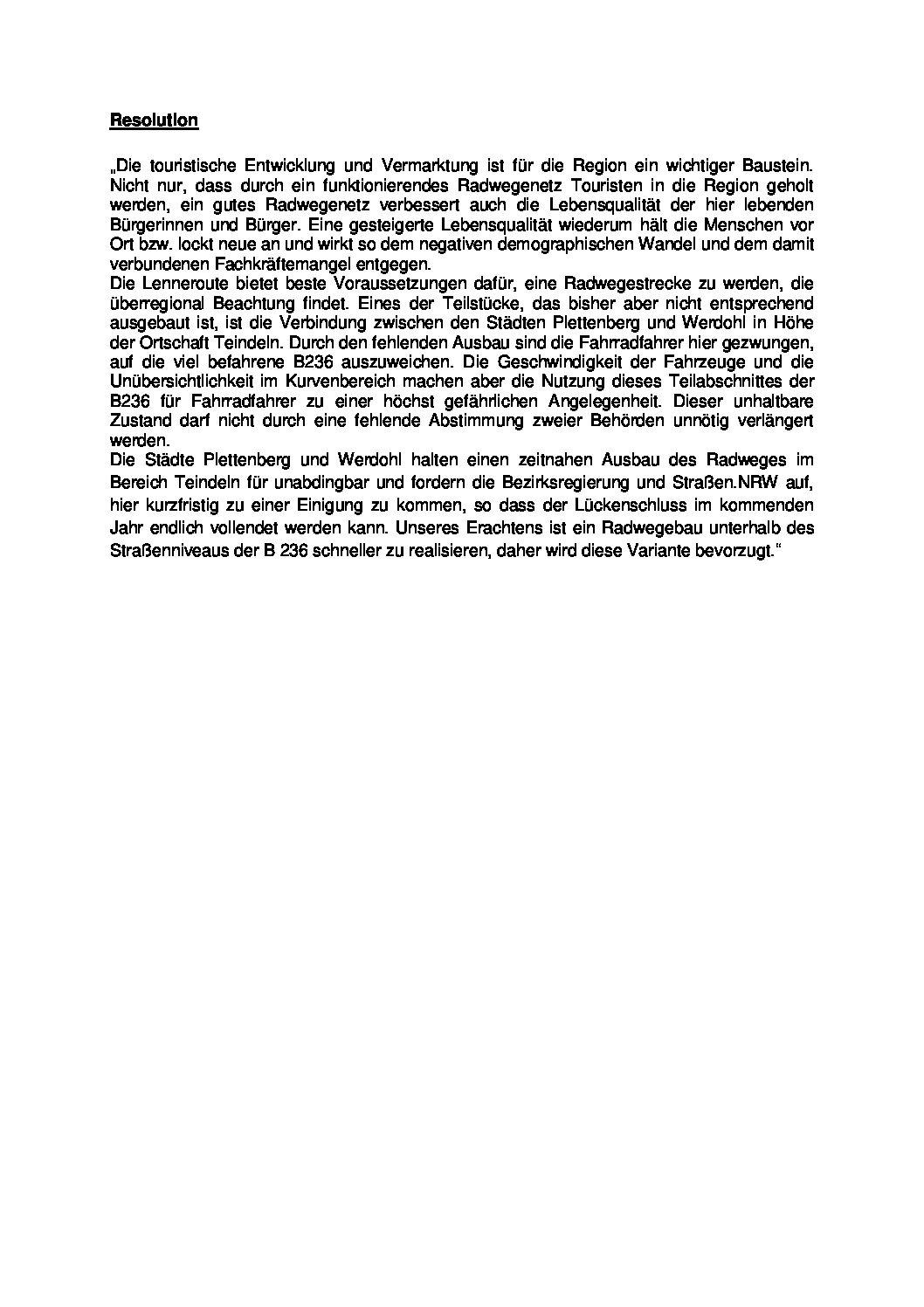 Resolution zum Thema Radwege