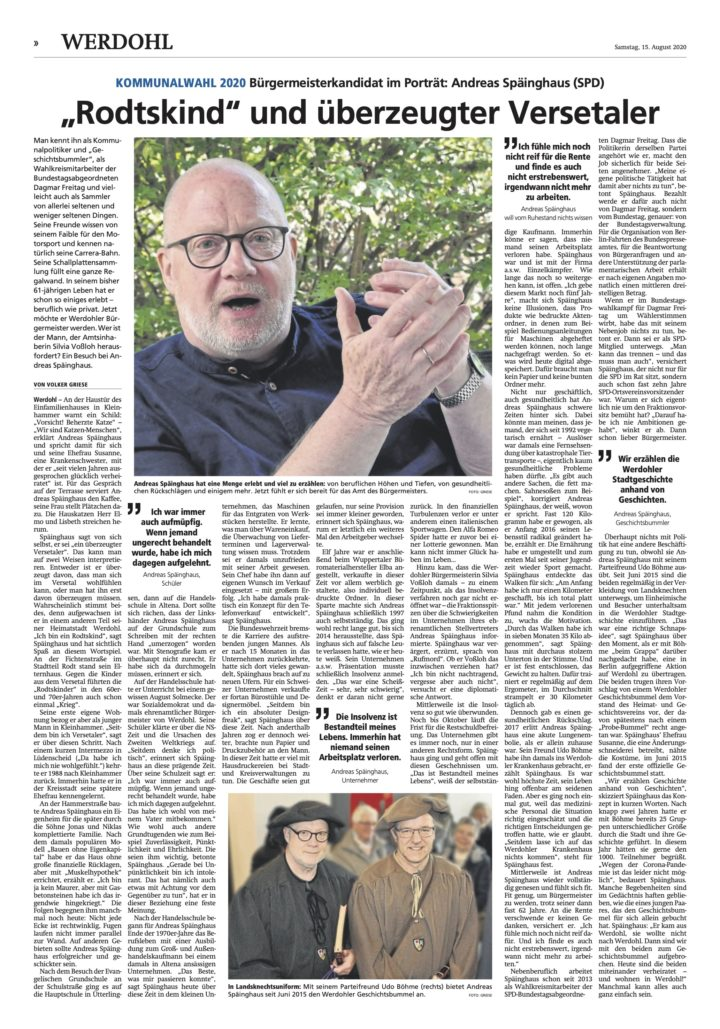 Bürgermeisterkandidatat im Portrait (Süderländer Volksfreund v. 15.08.2020)